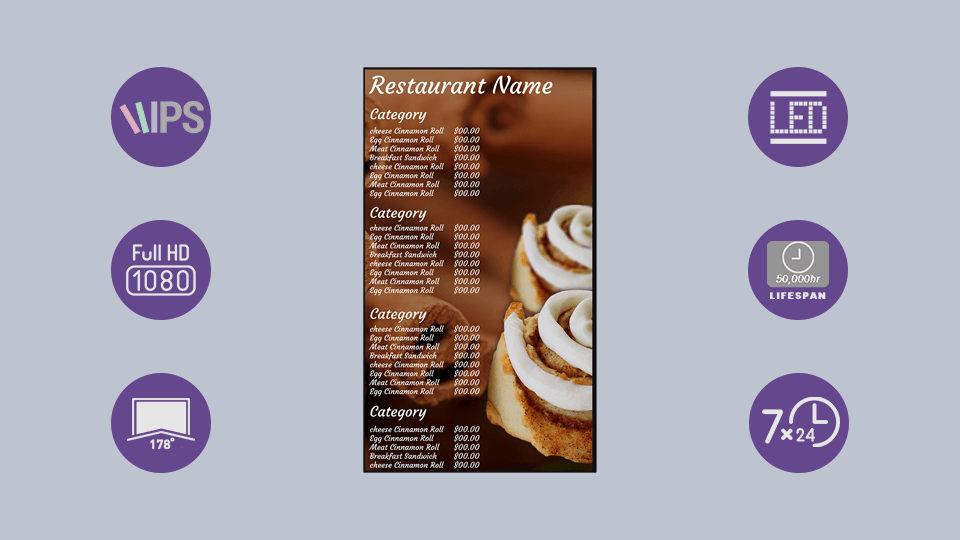 Digital Menu Boards IPS Panel