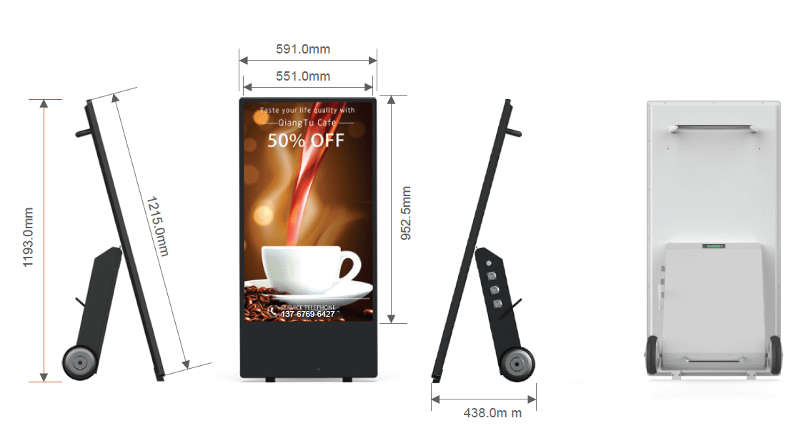 43'' Outdoor digital Android Battery A-Boards